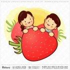 부부 캐릭터와 딸기