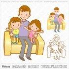 쇼파에 앉은 가족 캐릭터