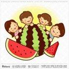 큰 수박과 가족 캐릭터
