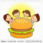 큰 햄버거와 가족 캐릭터