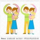 부부와 아기 캐릭터
