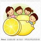 가족 캐릭터와 레몬